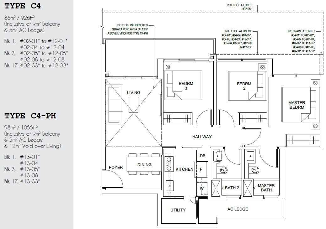 Parc Canberra EC Floor Plan 3 Bedroom Study Type C4