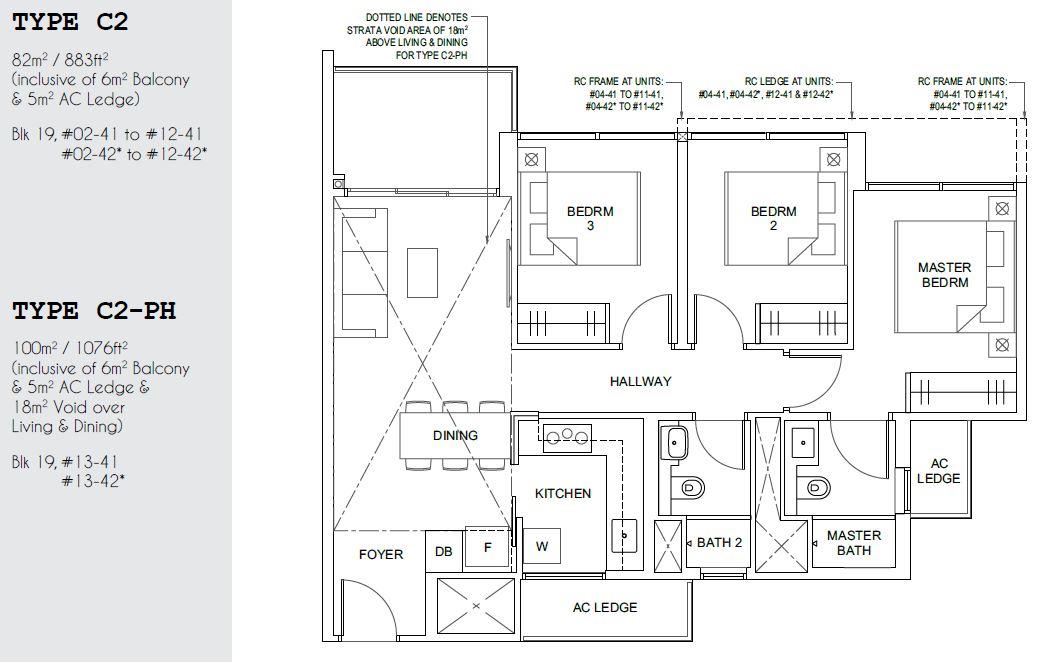 Parc Canberra EC Floor Plan 3 Bedroom Type C2