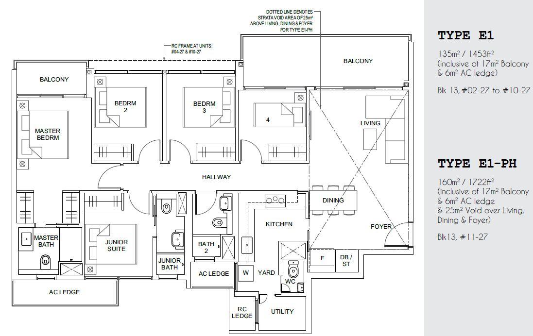 Parc Canberra EC Floor Plan 5 Bedroom Utility Yard Type E1